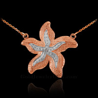 14k Two-Tone Rose Gold Diamond Starfish Necklace