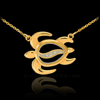 14k Gold Sideways Diamond Hawaiian Honu Turtle Necklace