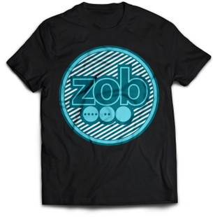 Zob Stripes T-shirt Teal on Black