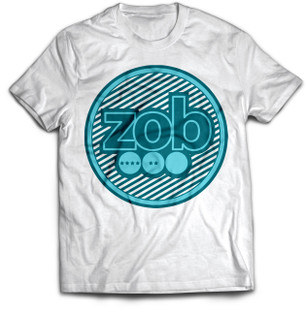 Zob Stripes T-shirt Teal on White