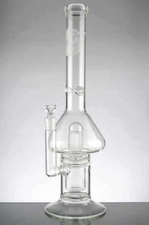20 in. HVY Stemless Straight Tube to Beaker with Can and 8 Arm Tree Perc