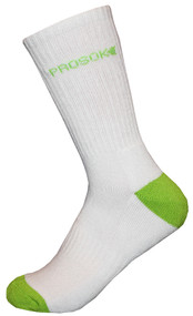 Prosok Bamboo Crew Sock H16 Heavy Weight Sport White Green