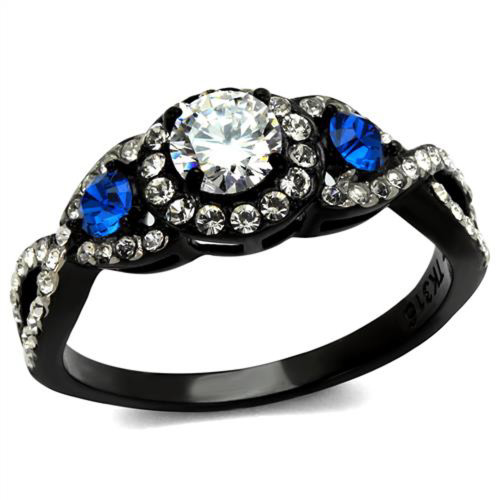 Artk2286 Stainless Steel 1 26 Ct Clear Blue Cz Halo Black Engagement Ring Women S 5 10