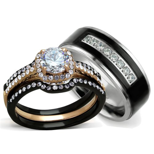 St2020 Artm32128 Hers His 3 Pc Rose Gold Stainless Steel Wedding Ring Set Black Anium Band