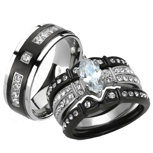 St1922 Arti4317 Her His 4pc Black Stainless Steel Anium Wedding Engagement Ring Band Set