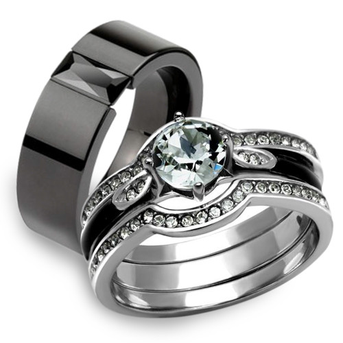 St2843 Arm2620 His Hers 4pc Silver And Black Stainless Steel Wedding Engagement Ring Band Set