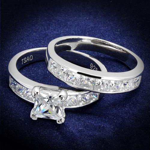Princess Cut Cubic Zircoina 925 Sterling Silver Rhodium Plated Wedding Ring Set