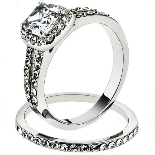 Artk2180 Stainless Steel 1 8 Ct Halo Princess Cut Cz Wedding Ring Set Women S Size 5 10