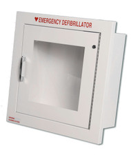 Compact Metal AED Wall Cabinet w/ Alarmed Door - Semi-Recessed Mount
