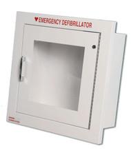 Compact Metal AED Wall Cabinet w/ Alarmed Door - Semi-Recessed Mount