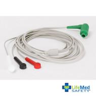RDT Tempus Pro 3-Lead ECG Cables (AAMI), 8'