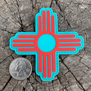 "Zia Turquoise and Red 3"" PVC Morale Patch FREE SHIPPING"