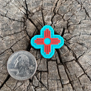 "Ranger eye Zia Turquoise and Red 1"" PVC morale patch"