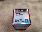 Hornady XTP 9mm Bullets, 90 Grain, Box of 100 Projectiles. 35500
