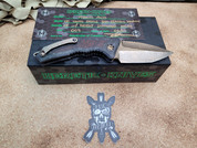 Heretic Knives Medusa Auto, Hand Ground Blade, Bronzed  with Ironwood Inserts.