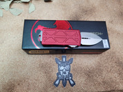 Microtech Red Exocet Double Edge Stonewash Finish