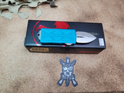 Microtech Turquoise Exocet Double Edged Blade with Stonewash Finish