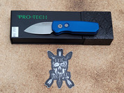 Pro-Tech Runt 5 in Blue with a Stone Washed Wharncliffe Blade