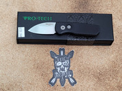 Pro-Tech Runt 5 in Black with a Stone Washed Wharncliffe Blade and Textured Frame