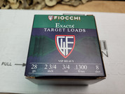 """Fiocchi 28 Gauge 2 3/4"""" #8, One Case of 250 Rounds."""