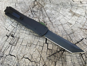 Heretic Knives Manticore-X DLC tanto, black chassis, Green G10 button