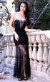 Atina Collection Gatsby Black Beaded Sheer Lace Evening Dress