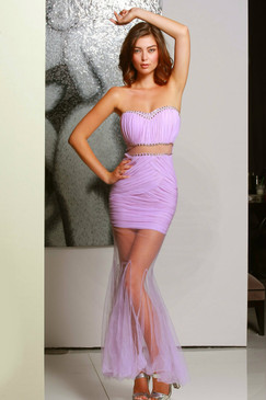Lavender Beaded Crop top two piece sheer panel dress