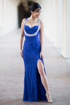 Blue Lace Beaded Strappy Back Evening  Dress