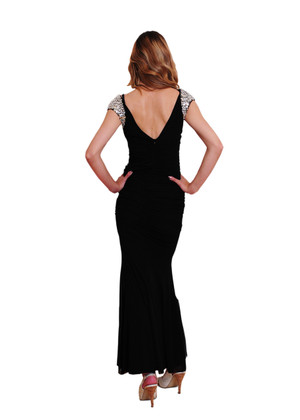 Atina Collection black Evening Dress with Sparkly shoulders and waist