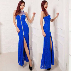 Blue Lace bejeweled mock zipper illusion gown