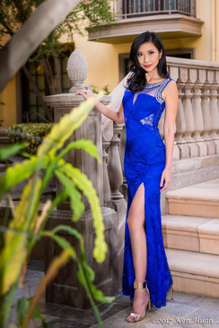 Blue Lace Dress with Waist cutout and Beaded Neckline