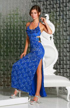 Blue stripped waist gown with floral embroideries