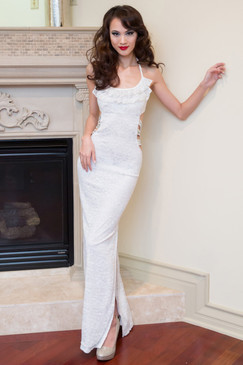 White stripped waist gown with floral embroideries