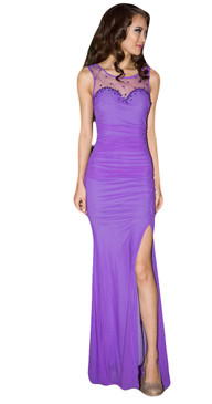 Purple lady Lithe Slit Evening Dress