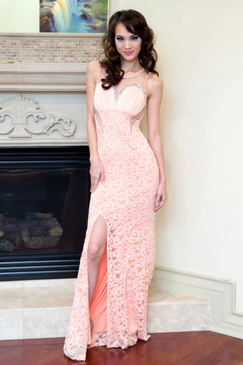 Apricot V-back Beaded lace dress with Sheer Waist