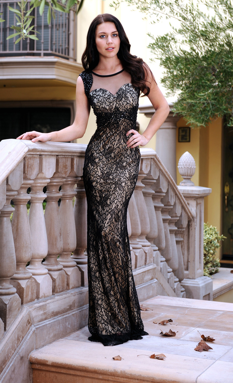 Gatsby inspired sparkly shoulder and waist lace gown