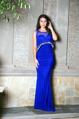 Blue shawl Jennifer Lopez Inspired Evening Gown