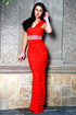 Red One-Shoulder tiered gown by Atina Collection
