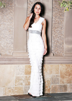 White Mermaid One Shoulder tiered evening dress