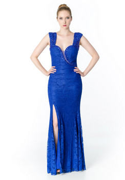 Atina Collection Gatsby Blue Beaded Straps Lace Dress with StrappyBack