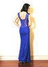 Atina Collection Blue Beaded Straps Lace Dress with Criss-Cross Back