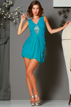 Teal V neck Pleated cocktail dress with Embellishment