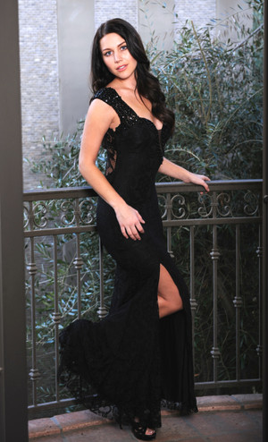 Atina Collection Gatsby Black Beaded Straps Lace Dress with StrappyBack