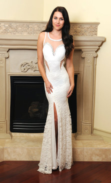 Stunner white V-back sequins lace panel dress with waist cutout by Atina Collection
