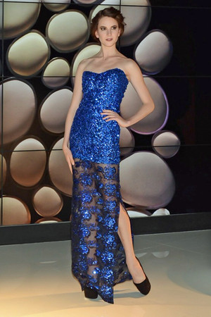 Atina Luxe Made to order blue floral Sequins embellished gown