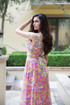 Atina Luxe Coachella Pink kaleidoscope floral print maxi dress Hand Crafted