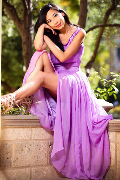 Lavender Dream Silk folded skirt Maxi dress