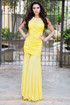 Yellow beaded illusion neckline pleated bodice gown