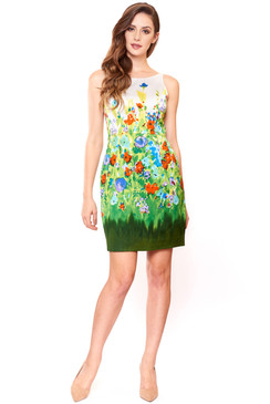 White Kaleidoscope paint flower print short dress