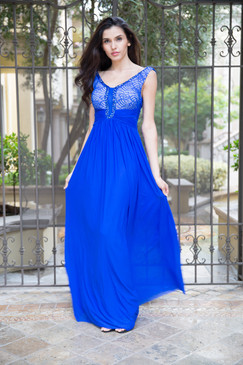 Atina Collection Blue Lace Bodice Empire Waist Dress